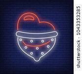 safe sex neon sign. heart in... | Shutterstock .eps vector #1043353285
