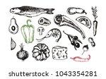 hand drawn doodle healthy food | Shutterstock .eps vector #1043354281