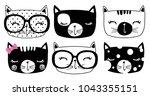Stock vector cute cat set vector t shirt print cartoon character 1043355151