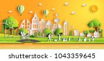 Paper art style of landscape in the city with sunset on summer, people enjoy fresh air in the park, flat-style vector illustration. | Shutterstock vector #1043359645
