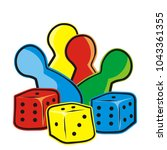 playing dice and figurines ... | Shutterstock .eps vector #1043361355