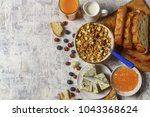 healthy morning  breakfast... | Shutterstock . vector #1043368624