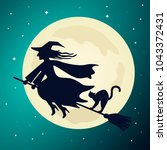 the old witch flies on a broom... | Shutterstock .eps vector #1043372431
