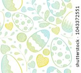 vector pattern with easter eggs ... | Shutterstock .eps vector #1043372551