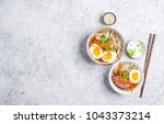 bowls with japanese soup ramen  ... | Shutterstock . vector #1043373214