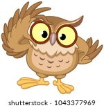 owl touching his glasses | Shutterstock .eps vector #1043377969