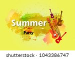 summer music party with splash... | Shutterstock .eps vector #1043386747