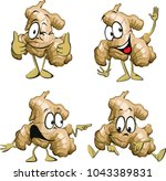 ginger root cartoon with  legs... | Shutterstock .eps vector #1043389831