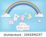 paper art of rainbow with baby...   Shutterstock .eps vector #1043390257