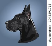 dog black great dane. vector.... | Shutterstock .eps vector #1043391715