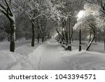 heavy snowfall in moscow. night ... | Shutterstock . vector #1043394571