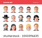set of 15 flat avatars icons.... | Shutterstock .eps vector #1043396635