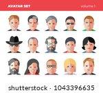 set of 15 flat avatars icons.... | Shutterstock .eps vector #1043396635