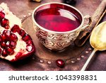 cup with turkish tasty tea with ... | Shutterstock . vector #1043398831