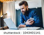 young smiling bearded... | Shutterstock . vector #1043401141