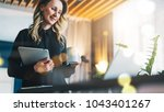young smiling businesswoman in... | Shutterstock . vector #1043401267