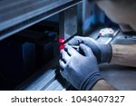 operator working cut and...   Shutterstock . vector #1043407327