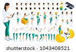 isometric set of gestures of... | Shutterstock .eps vector #1043408521