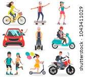 people on land transport... | Shutterstock .eps vector #1043411029