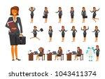 smart business woman character... | Shutterstock .eps vector #1043411374