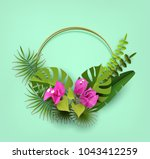 trendy summer tropical leaves ... | Shutterstock .eps vector #1043412259