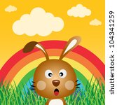 rabbit with rainbow in the... | Shutterstock .eps vector #104341259
