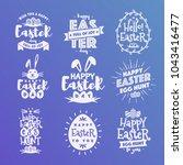 happy easter emblem set... | Shutterstock . vector #1043416477