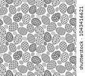 happy easter eggs pattern black ... | Shutterstock . vector #1043416621