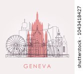 outline geneva skyline with... | Shutterstock .eps vector #1043418427