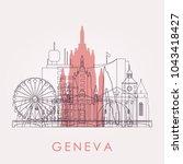 outline geneva skyline with... | Shutterstock .eps vector #1043418427