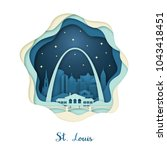 paper art of st. louis. origami ... | Shutterstock .eps vector #1043418451