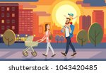 Family walking with baby car at city sunset. Father holding son on his shoulders. Fun lifestyle of cartoon characters at cityscape street. Vector illuctration of parents and children outdoor. | Shutterstock vector #1043420485