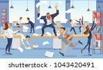 angry boss shout in chaos... | Shutterstock .eps vector #1043420491