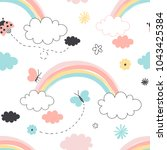 rainbow with clouds seamless... | Shutterstock .eps vector #1043425384