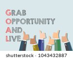 grab opportunity and live. goal.... | Shutterstock .eps vector #1043432887