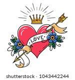 tattoo heart pierced by arrow... | Shutterstock .eps vector #1043442244