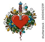 red heart decorated with... | Shutterstock .eps vector #1043442259