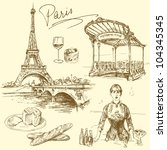 paris   hand drawn collection | Shutterstock .eps vector #104345345