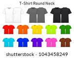 t shirt round neck color... | Shutterstock .eps vector #1043458249