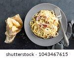 carbonara pasta  spaghetti with ...   Shutterstock . vector #1043467615