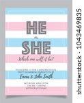 he or she  gender reveal party... | Shutterstock .eps vector #1043469835