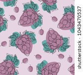 grapes vector seamless pattern. ... | Shutterstock .eps vector #1043470537