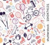 sport sketch equipment seamless ... | Shutterstock .eps vector #1043474131