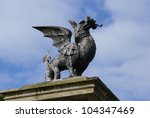 statue of welsh dragon carrying ...