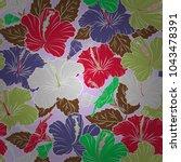 summer hawaiian seamless... | Shutterstock .eps vector #1043478391