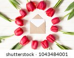 envelope and frame of red...   Shutterstock . vector #1043484001