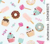 birthday seamless pattern with... | Shutterstock .eps vector #1043485075