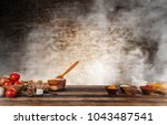 baking ingredients placed on... | Shutterstock . vector #1043487541
