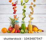 smoothie maker mixer with... | Shutterstock . vector #1043487547