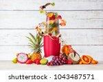 smoothie maker mixer with fruit ... | Shutterstock . vector #1043487571